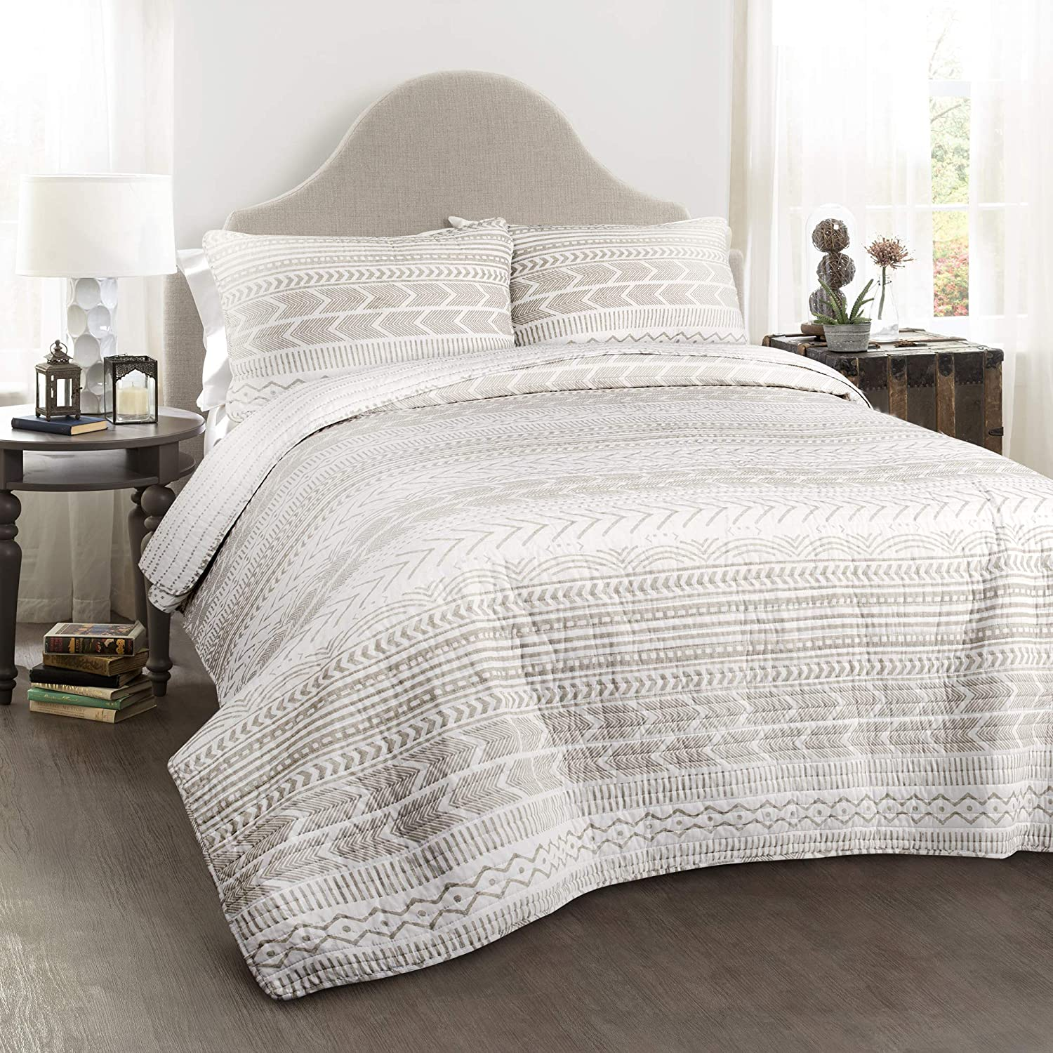 Lush Decor Hygge Geo 3 Piece Set Limited price sale Taupe King Quilt online shop White
