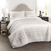 Lush Decor Hygge Geo 3 Piece Quilt Set, King, Taupe & White