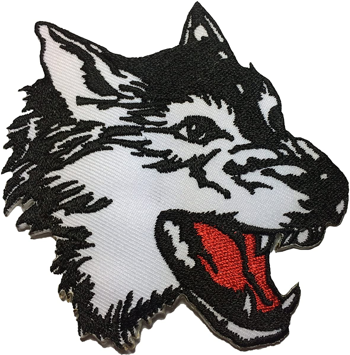 Papapatch Wolf Fox Roaring Head Face Animal Wild DIY Sewing on Iron on Embroidered Applique Patch (IRON-WOLF-HEAD-ROAR)