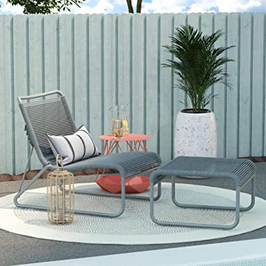 CosmoLiving by Cosmopolitan, Lita 2 Piece Patio Lounge and Ottoman Set, Charcoal