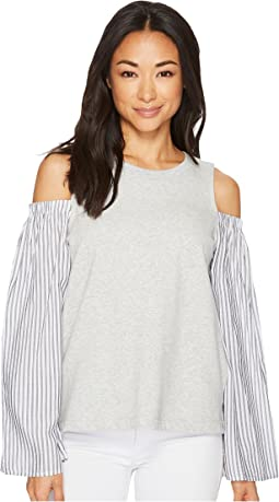 TWO by Vince Camuto - Striped Bell Sleeve Mix Media Cold Shoulder Top