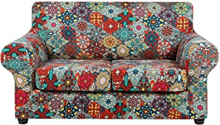 Best hyha Printed Couch Cover for 2 Cushion Couch - Floral Pattern Sofa Cover with Separate Cushion Cover, 3 Pieces Stretch Loveseat Slipcover Washable Furniture Protector (Loveseat, Diamond Mandala) Review