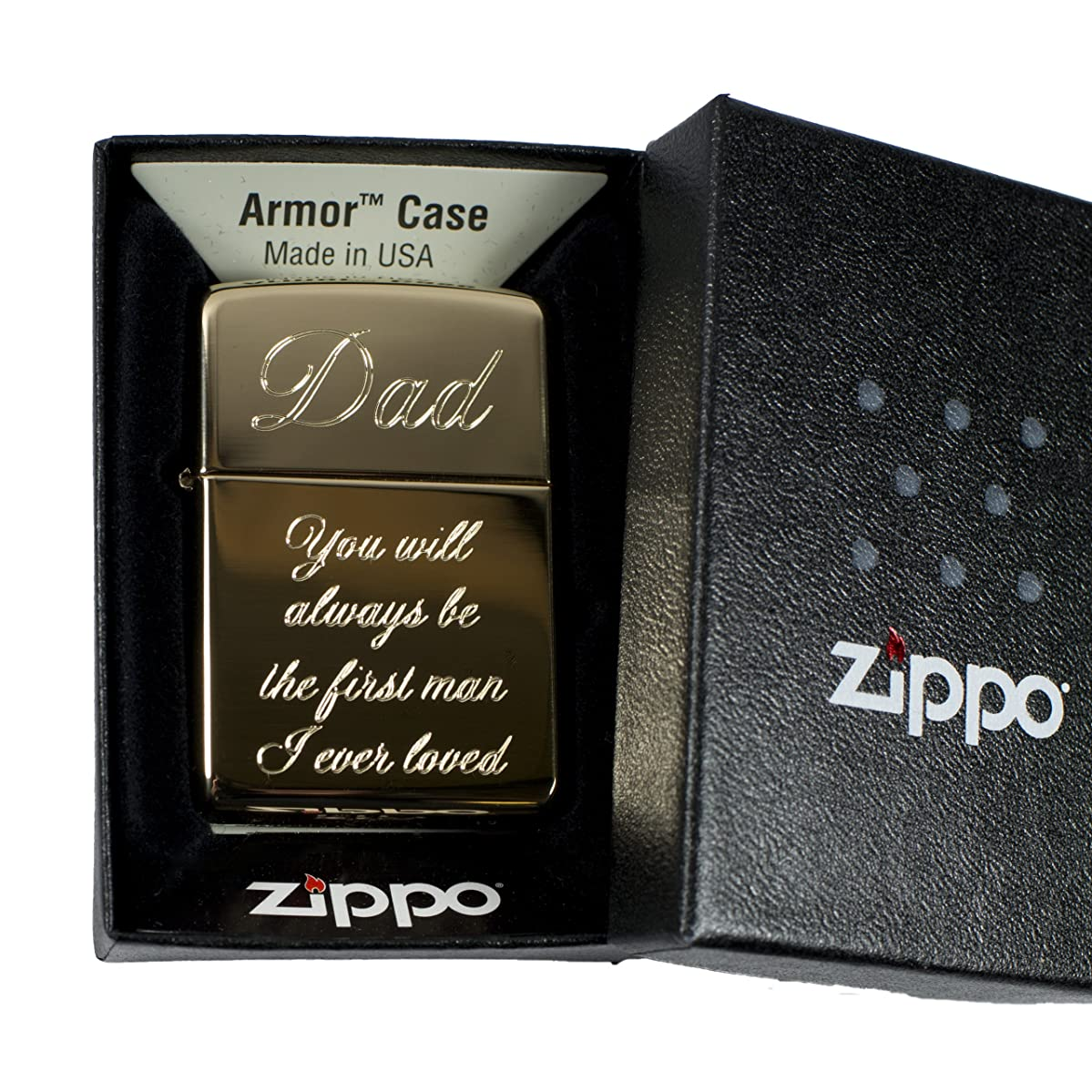 Lighter - Golden Dad You will always be the first man I ever loved (engraved by Hip Flask Plus) on Zippo 169 Brass