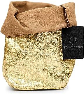 Panier de rangement élégant en cuir de vegan Doré XS – Panier de rangement en papier lavable – Aspect cuir – Boîte de déco...