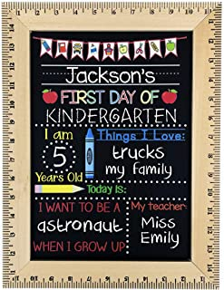 First Day of School Chalkboard, Easy to Clean Reusable Sign with Real Wooden Ruler Frame, Handmade