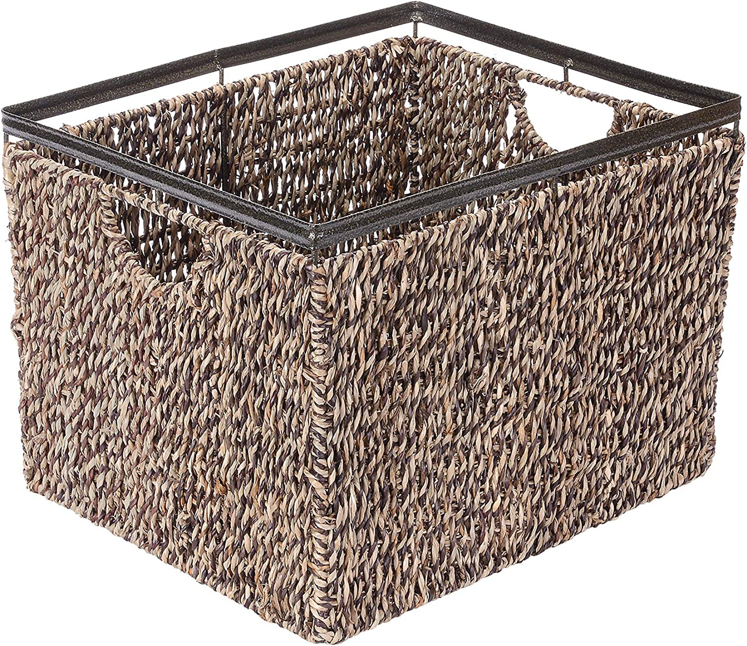 Villacera Rectangle Handmade Twisted Wicker Baskets Made of Water Hyacinth   Nesting Brown and Natural Seagrass Tubs   Set of 3