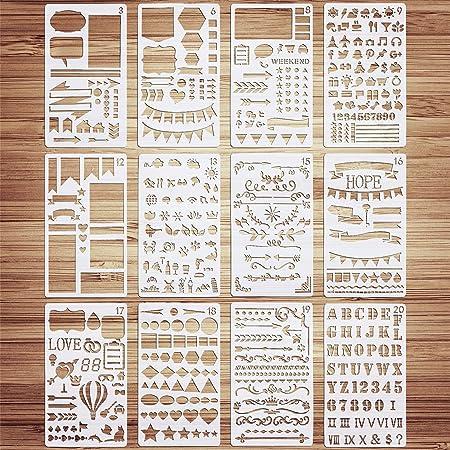 VETPW 12 Pièces Mixte Bullet Journal Pochoir, Pochoir Dessin Peinture, Pochoir à Dessin Réutilisable Plastique Pochoir pour Bricorage, Cartes, Scrapbooking, Planner, Wall Decor