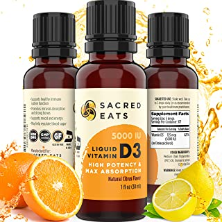 Sacred Eats Vitamin D3 Liquid Drops for Adults & Kids - 5,000 IU Serving (1,000 / Single Drop), Natural & Sugar Free in MC...