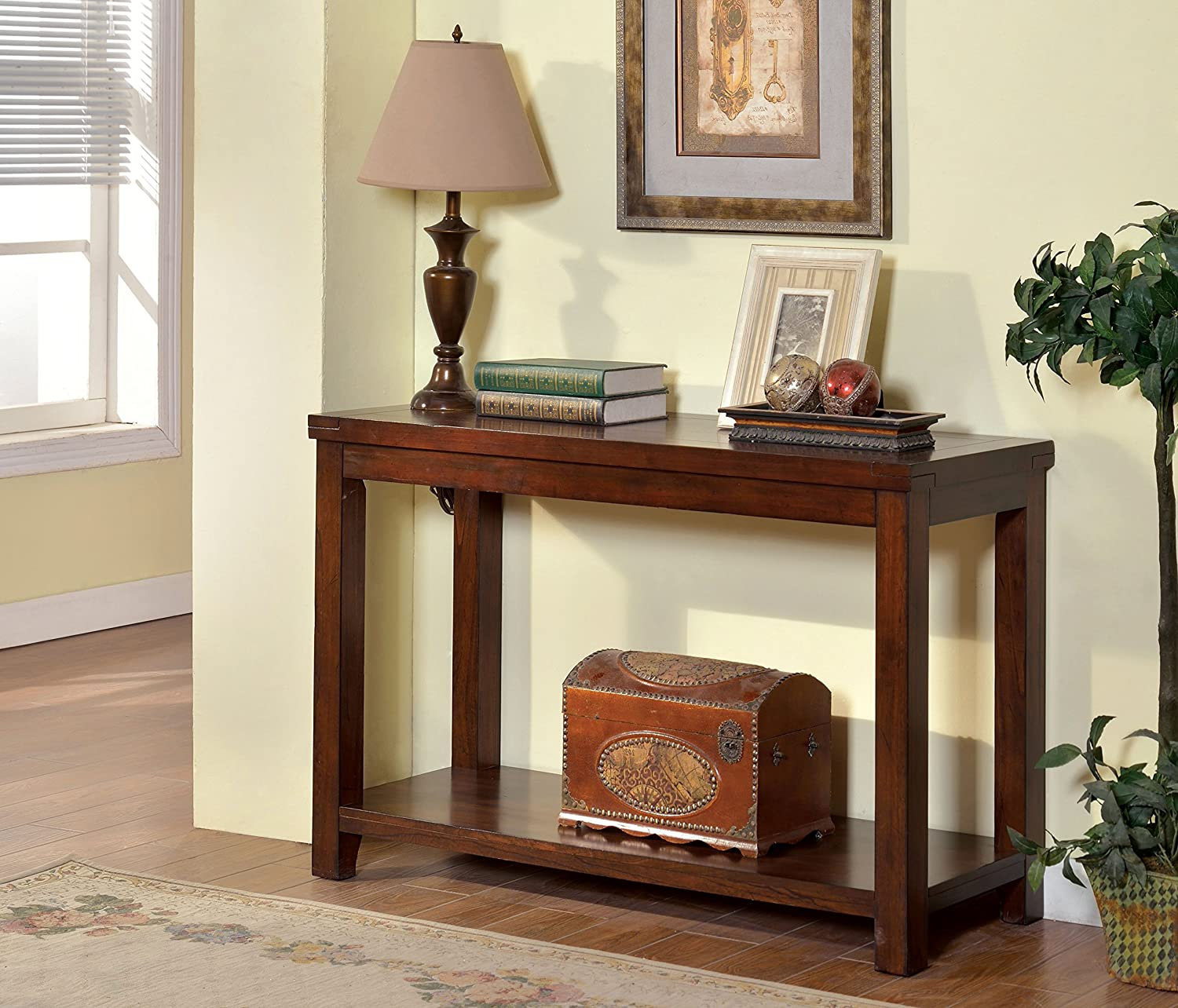 Furniture of America Torrence Transitional Sofa Table, Dark Cherry