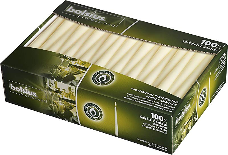 BOLSIUS Long Household Ivory Taper Candles 10 Inch Unscented Premium Quality Wax 7 5 Hour Long Burning Dripless Candles Bulk Pack Of 100 For Home Decor Wedding Parties And Special Occasions