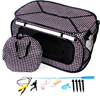 CheeringPet Cat Travel Cage: Portable Collapsible Pop Up Playpen Pet Crate - Includes Storage Bag, 4 Bonus Cat Toys - Zippered Mesh Sides with Privacy Panel