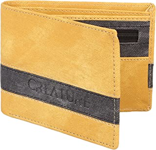 Creature Yellow Denim Wallet for Men with Zip (Colour-Yellow || WL-014 || 3 Card Slots)