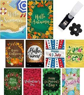 Mogarden Seasonal Garden Flag Set - 10 Pack, Free 2 Stopper & 2 Wind Clip & USA Flag Car Sticker, Artistically Designed Ya...