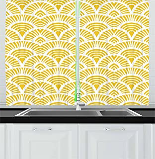 Lunarable Mustard Kitchen Curtains, Vintage Shabby Form Traditional Japanese Style Abstract Half Circle Rounds Motif, Window Drapes 2 Panel Set for Kitchen Cafe Decor, 55