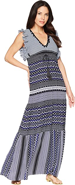 Mixed Print V-Neck Maxi Dress