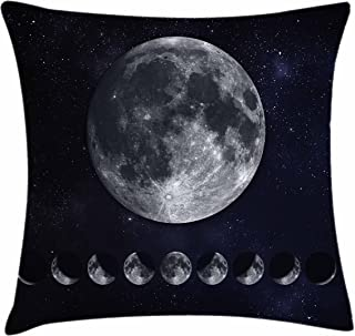 Lunarable Moon Phases Throw Pillow Cushion Cover, Giant Moon on The Starry Night Sky Eclipse Movement Celestial Science, Decorative Rectangle Accent Pillow Case, 36