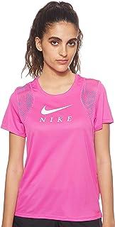Nike Women's Run Short Sleeve Gx T-Shirt, Black (Black/White)