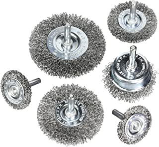 HOYIN 6Piece Wire Wheel Cup Brush Set|0.0118In Coarse Crimped Carbon Steel|1/4In Round..