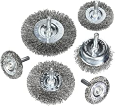 HOYIN 6Piece Wire Wheel Cup Brush Set|0.0118In Coarse Crimped Carbon Steel|1/4In Round Shank|for Drill