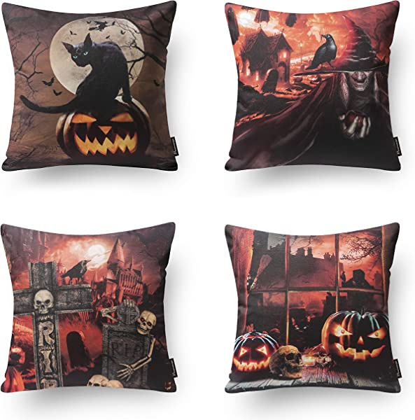 Phantoscope Set Of 4 Happy Halloween Horror Nights Pumpkin Witch Castle Throw Pillow Case Cushion Cover 18 X 18 Inches 45 X 45 Cm