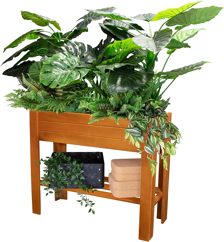 25024001 WAGNER Hochbeet GreenBOX Light Massivholz, anthrazit; 70 x 83 x 34.5 cm; Regalboden; inklusiv Pflanztasche