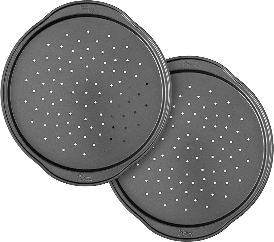 Wilton Perfect Results Non Stick 14 Inch Pizza Crisper Pans With Holes Set Of 2
