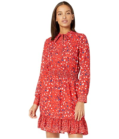 Sam Edelman Bowtie Neck Fit-and-Flare Dress (Red Multi) Women