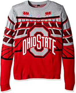 FOCO NCAA Ohio State Buckeyes Mens Light Up Bluetooth Speaker Sweaterlight Up Bluetooth Speaker Sweater, Team Color, Large