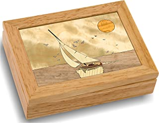 Wood Art Boat Box - Handmade in USA - Unmatched Quality - Unique, No Two are The Same - Original Work of Wood Art. A Sailing Gift, Ring, Trinket or Wood Jewelry Box (#4104 Full Sail 4x5x1.5)
