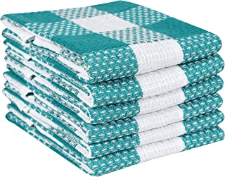 Ramanta Home Classic Vintage Veronica Check Plaid 100% Cotton Kitchen Dish Towels 6 Pack Oversized 18x28 Super Absorbent Cleaning Towels Teal