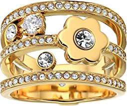 In Full Bloom Floral and Crystal Accent Stacked Ring