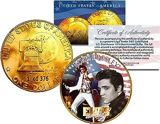 1976 ELVIS PRESLEY 24K Gold Plated IKE Eisenhower Dollar - Each Coin Serial Numbered of 376