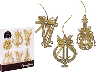 Christmas Traditions 4 inch Gold Glittered Musical Instruments Christmas Hanging Ornaments Tree Decorations Guitar/Harp/ Lyre (Set of 6)