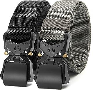 "Chaoren 2 Pack Mens Quick Release Tactical Belt 1.5"", Casual Military Riggers Web Belts for Men, Heavy Duty Cobra Work Belt"