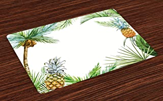 Ambesonne Pineapple Place Mats Set of 4, Watercolor Tropical Island Style Border Print..
