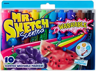Mr.Sketch 1924010 Scented Washable Markers, Chisel Tip, Assorted Colors, 10-Count
