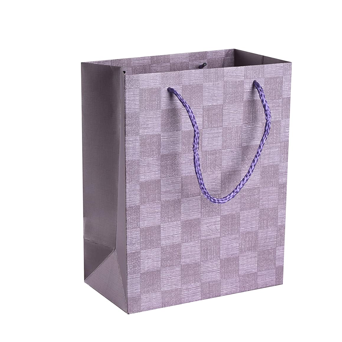 """Checkered Gift Bags Set (12 Pack)- 9""""x 7""""x 4"""" Unique Design with Durable Ribbon Handles, Beautiful Present Bags Best for Birthday, Wedding and Party Favors (Purple)"""