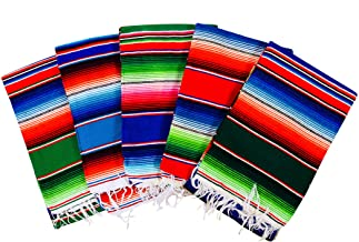 MEXIMART's® Authentic Medium Mexican Blankets Colorful Serape Blankets Assorted Colors 80 x 48
