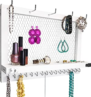 OUTSHINE Large White and Silver Wall Mounted Hanging Jewelry Organizer, Perfect Holder for Earrings Necklaces Bracelets-Silver Chicken Wire, Present for Women, Wife, Mom, Girlfriend