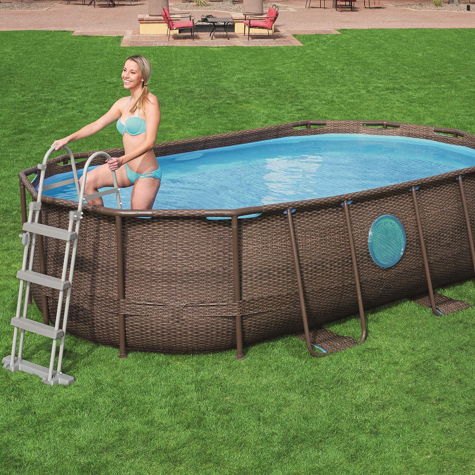 Bestway 58330 - Escalera para Piscina Desmontable 107 cm: Amazon ...