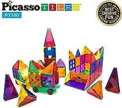 PicassoTiles PT180 Piece Set 180pc Building Block Toy Deluxe Construction Kit Magnet Building Tiles Clear Color Magnetic 3D Construction Playboards Educational Blocks Creativity Beyond Imagination