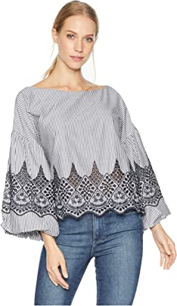 Puff Sleeve Embroidered Cotton Top