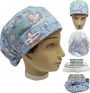 Cuffia chirurgica Donna UNICORNIS Capelli Lunghi PERSONALIZZABILE con RICAMO Regolabile Nome e assorbente sulla fronte