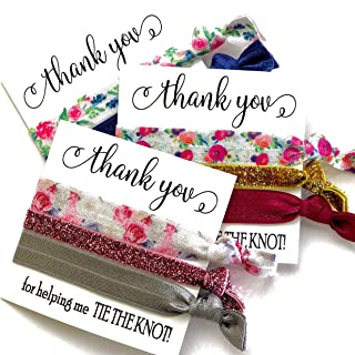 USA SELLER - PACK OF 5 Thank You for helping me TIE THE KNOT! Wedding Hair Tie Favors | Assorted Hair Ties (White Card Black Ink)