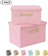Enzk&Unity Foldable Paper Woven Storage Bins Cube Lidded Storage Basket with Handle Organizer Decorative Box Containers fo...