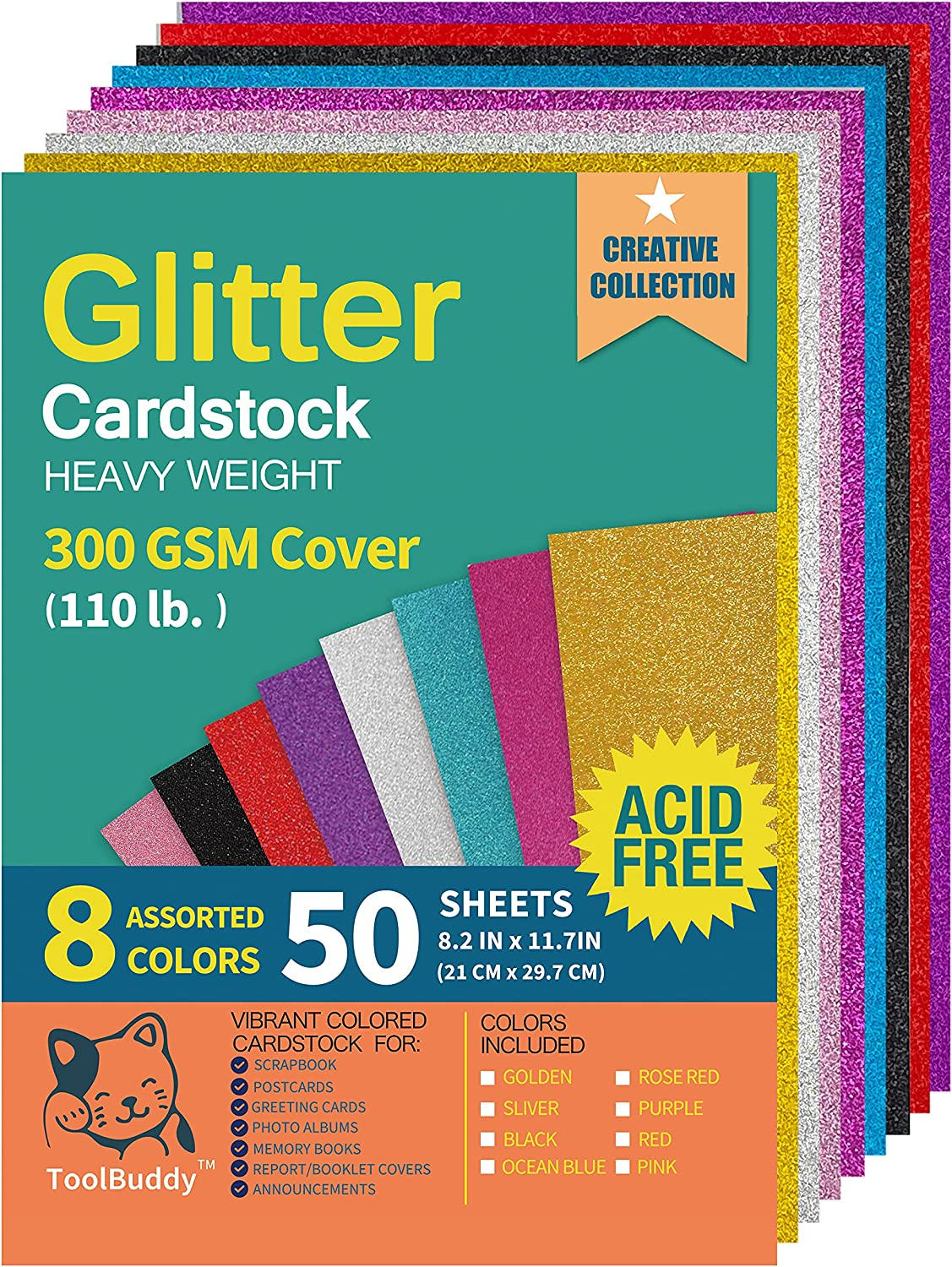 Heavyweight Glitter Cardstock Paper - 110lb. / 300GSM - 50 Sheets A4 Colored Craft Card Stock for Craft Project, DIY, Gift Wrapping, Birthday Party Wedding Decorations, Scrapbooking, 8 Assorted Color : Arts, Crafts & Sewing