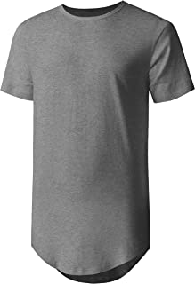 Hat and Beyond Mens Basic Hipster T Shirts Hip Hop Soft Longline Tee