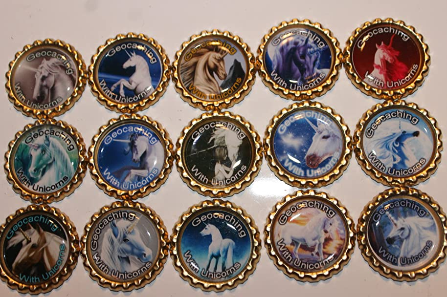 Geocaching Coins Swag Bottle Caps - Unicorns