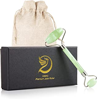 Jade Roller - For Face Massager and Puffy Eyes, 100% Real Jade, Polished Jade Stone Facial Roller With Carrying Bag