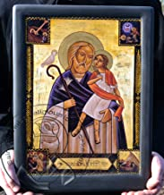 St Joseph & Jesus Orthodox Coptic Icons Gilding Handmade Artwork Gifts (6.69